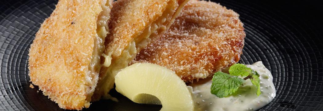 Coconut Fried Pineapple Stuffed Mortadella