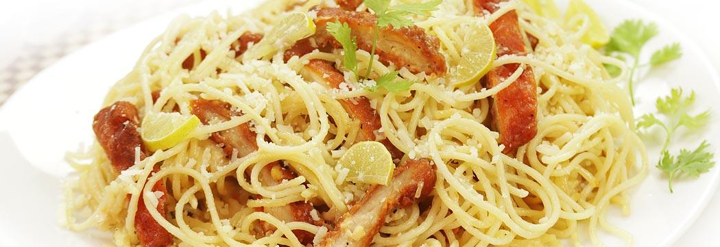 Lemon Spaghetti with Fried Fillet