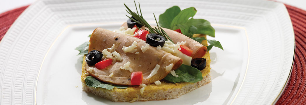 Mortadella Open Faced Sandwich
