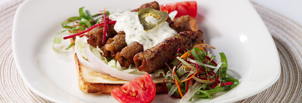 Seekh Kabab Open Faced Sandwich