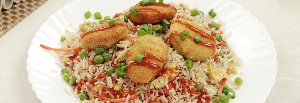 Sweet and Sour Haray Bharay Nuggets Rice